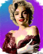 Movie Stars Paintings - Marilyn Monroe by Allen Glass