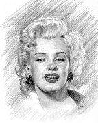 Norma Jean Drawings - Marilyn Monroe by Lou Ortiz