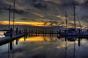 Docked Sailboat Originals - Marina Sunset by  Island Sunrise and Sunsets Pieter Jordaan