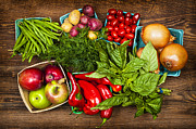 Groceries Photo Posters - Market fruits and vegetables Poster by Elena Elisseeva