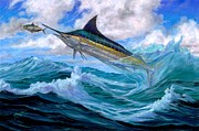 Black Marlin Painting Framed Prints - Marlin Low-Flying Framed Print by Terry  Fox