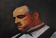 The Godfather Painting Framed Prints - Marlon Brando The Godfather Framed Print by David Dunne