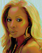 Head Shot Digital Art Prints - Mary J Blige Print by Byron Fli Walker