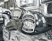 Fireman Paintings - Matts helmet by Rich Alexander