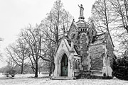 Cemetary Posters - Mausoleum in Snow Poster by Keith Allen