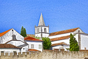 Roof Mixed Media Prints - Medieval Church along the Fortified Castle Wall Print by David Letts
