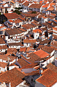 Birdseye Photo Acrylic Prints - Medieval town rooftops Acrylic Print by Lusoimages