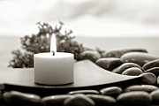 Experience Metal Prints - Meditation Candle Metal Print by Olivier Le Queinec
