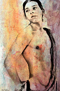 Watercolor Nude Posters - Mellow Poster by Mark Ashkenazi