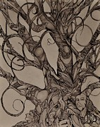 Tree Creature Drawings Prints - Memories of a Tree Print by Mary Simms