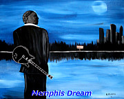 B.b.king Paintings - Memphis Dream with B B King by Mark Moore