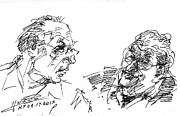 Men Talking Drawings - Men Talking by Ylli Haruni