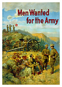 Artillery Mixed Media Posters - Men Wanted For The Army Poster by War Is Hell Store
