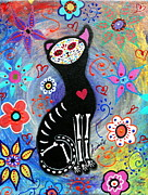 Pristine Cartera Turkus Prints - Meow Ii Day Of The Dead Print by Pristine Cartera Turkus