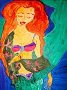 Shawl Painting Originals - Mermaid in a Shawl by Marian Griffin