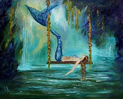 Waterfalls Paintings - Mermaids Lazy Lagoon by Leslie Allen