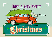 Automobile Artwork. Prints - Merry Christmas Tree Car Automobile Print by Aloysius Patrimonio
