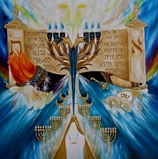 Menorah Paintings - Message To The Seven Churches by Angela Mae Cheetham
