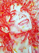 Bad Drawing Painting Prints - MICHAEL JACKSON SMILING - watercolor portrait Print by Fabrizio Cassetta