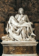 Michelangelo Photo Posters - Michelangelo 1475-1564. Pieta Poster by Everett