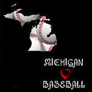Abstract Map Posters - Michigan Loves Baseball Poster by Andee Photography