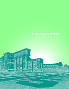 Fraternity Digital Art Prints - Michigan State University Print by Myke Huynh