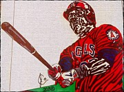 League Drawings Prints - Mike Trout Print by Jeremiah Colley