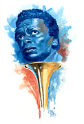 Trumpeters Framed Prints - Miles Davis Framed Print by Ken Meyer jr