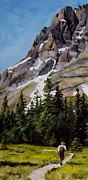 Glacier National Park Paintings - Miles From Nowhere by Mary Giacomini
