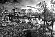 Monochromatic Digital Art Posters - Mill by the river Poster by Jaroslaw Grudzinski