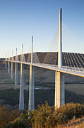 Millau Viaduct At Sunrise Midi-pyrenees France Print by Colin and Linda McKie