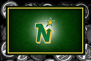 Puck Framed Prints - Minnesota North Stars Framed Print by Joe Hamilton