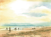 Beach Goers Posters - Misty Beach Poster by Ray Cole