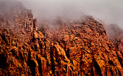 Sandstone Bluffs Posters - Misty Mountains Poster by Carol Hyman