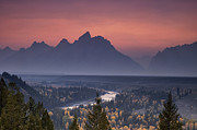 Mountain Range Framed Prints - Misty Teton Sunset Framed Print by Andrew Soundarajan