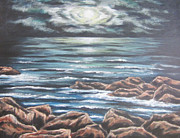 Sea Moon Full Moon Painting Originals - Moments in Time by Cheryl Pettigrew
