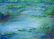 Monet Drawings Posters - Monet Water lilies Poster by Eric  Schiabor