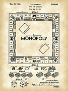 Monopoly Metal Prints - Monopoly Patent Metal Print by Stephen Younts