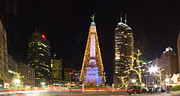 Monument Circle Prints - Monument Circle at Christmas Print by Twenty Two North Gallery