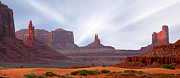Panoramic Digital Art Metal Prints - Monument Valley at Sunset Metal Print by Mike McGlothlen