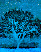 Tree Art Print Mixed Media - Mood Indigo by Ann Powell
