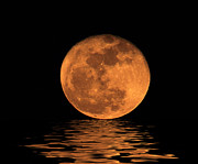 Man In The Moon Prints - Moon over water Print by Geri Scull