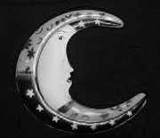 Stars And Stripes Mixed Media - MOON PHASE in BLACK AND WHITE by Rob Hans