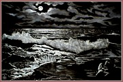 Sea Moon Full Moon Drawings Framed Prints - Moonlight on the Rocks Framed Print by Ronald Chambers