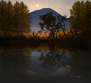 Reflections In Water Prints - Moonlit Mountain Meadow Print by Frank Wilson