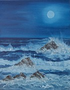 Sea Moon Full Moon Posters - Moonlit Waves Poster by Holly Martinson
