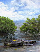 Docked Boats Painting Posters - Moored Among The Mangroves Poster by Sharon Burger