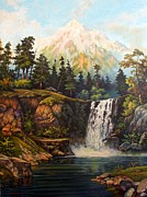Mountain Scene Drawings Prints - Moran Falls Print by John Hudson Hawke