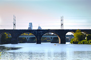 Rower Digital Art Prints - Morning Along the Schuylkill River Print by Bill Cannon