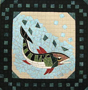 Art Quilt Tapestries Textiles Framed Prints - Mosaic Fish Framed Print by Lynda K Boardman